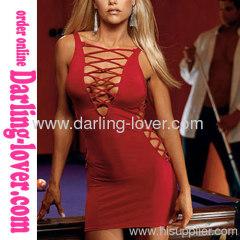 New Sexy Red Fashion Hot Deep V Stripe Dress
