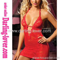Red New Sexy Deep V Hot Sale Lace Dress
