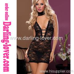 Sexy Black New Deep V Lace Wholesale Mini Dress
