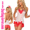 Sexy White New Mesh Wholesale Nurse Cut Back With red Stripe Mini Babydoll