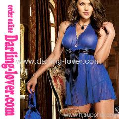 Blue Mesh Wit Black Thong Fashion Low Cut Sexy Dress