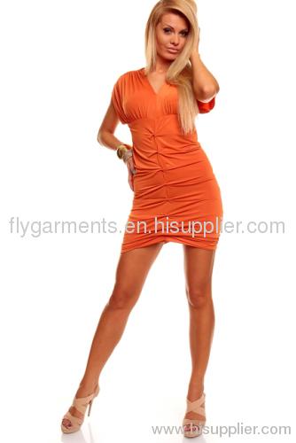 Orange V Neck Summer Dress Nightwear sexy women dress skirts sleepwear