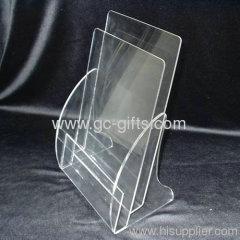 Beautiful curve transparent of display rack for brochure