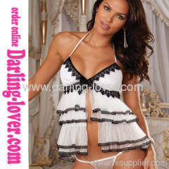 White Sexy New Mesh Wholesale Fashion Cake Dress with G-string