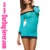 Blue Sexy New Fashion Wholesale Mesh Sleeve Babydoll Lingerie with G-string