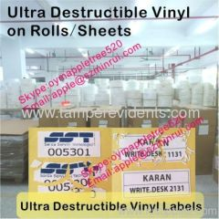 Custom Size Ultra Destructible Vinyl On Rolls/Sheets,Biggest Manufacturer of Destructive Label Materials