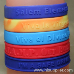 debossed swirl color silicone wristbands