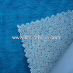 Blue and white interlock fabric blended of wool and polyester