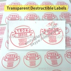 Transparent Circle Destructible Vinyl Labels