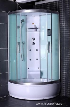 silver aluminum framework with shower cabin
