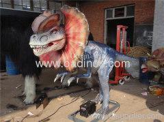 children's park life size animatronic dinosaur simulation motor driven dinosaur Dilophosaurus