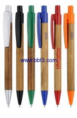 Promotional bamboo ballpoint pen with solid color clips