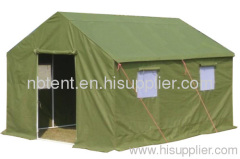 Military tent with canvas fabric