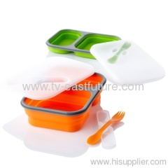 2 Grids Silicone Collapsible Lunch Box