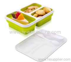 New 3 Grids Silicone Collapsible Lunch Box