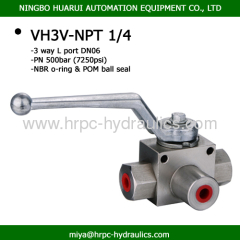 hydraulic threaded ball valve high pressure three-way ball valve WOG7250