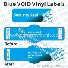 Blue Tamper Evident VOID Vinyl Labels