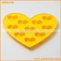 Silicone ice cube tray with 10 heart cubes