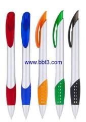 Promotional ballpen with silver barrel and soft grip