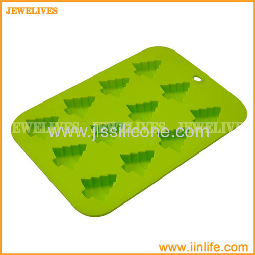 Cheerful christmas tree shape silicone ice maker in 12 cavities