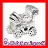 cheap factory wholesale large hole silver plated Baby Carriage charm beads