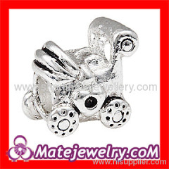 silver plated Baby Carriage charm