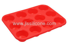 12 cavities round silicone bakeware for cake