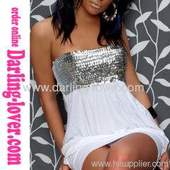 Sexy White Spandex Fashion Clubwear