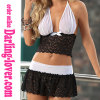 Hot Sale Sexy Two Pcs Mesh and Lace Fashion Babydoll Set with G-string