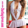 White Sexy New Mesh Deep V Lace Stripe Mini Babydoll Lingerie