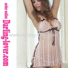 Sexy Mesh White Stripe Fashion Dress