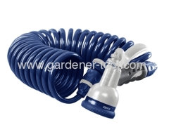 Garden PU recoil hose with plastic water nozzle