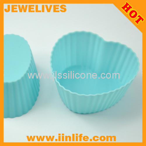 Candy color heart shape silicone cake/muffin/jelly mod