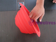 Silicone pocket bowl in red color