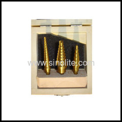 3pcs/set HSS Titanium Finish Step Drill Set