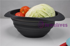 8.5inch Black Collapsible silicone pasta baskets/noodle strainer