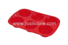 6 cavities silicone bakeware muffin and jelly baking mold
