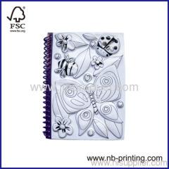 blank inner sheet plastic spiral notebook