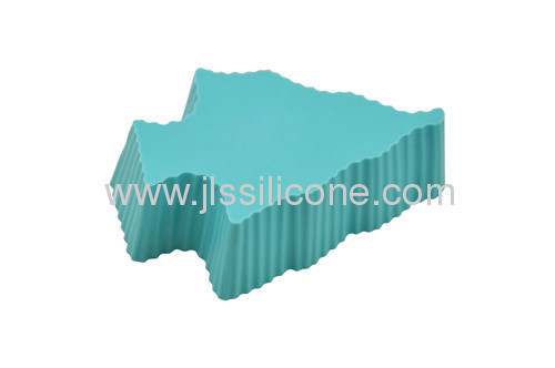 silicone muffin cake baking pan with tree shaped