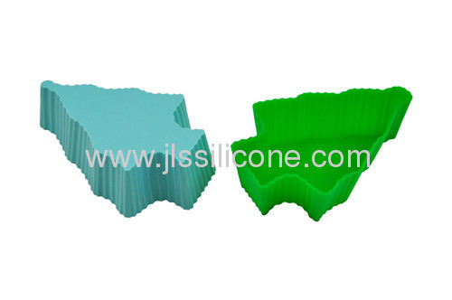 high quality FDA&LFGB approved Christmas tree shaped silicone cake moulds