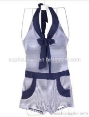 One Piece Stripe Printed Halter Swimwear