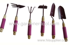 Mini garden tools set with wood handle