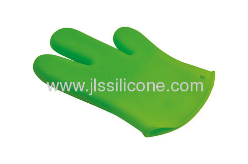 3-fingers anti slip silicone oven mitt or glove for pot and pan