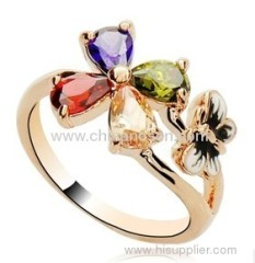 Fashion butterfly ring with colorful CZ and diamond