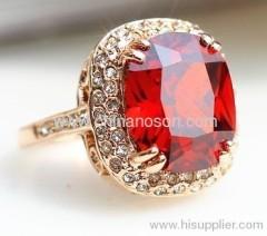 18K oro ruby bijoux rame anello
