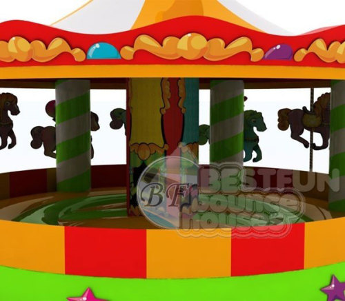 Inflatable Carousel Bounce House, Inflatable Fun Carousel Bouncer