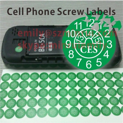 Small round date warranty stickers for cell phones