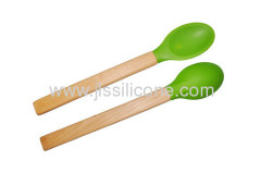 Food contact silicone scoop with wood handle
