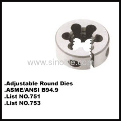 HSS Adjustable round dies list nr.753