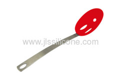 Silicone craft skimmer or slotted spoon with stainless steel handle